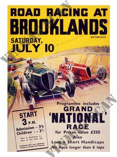 Brooklands Road Racing, Motor Racing Poster 1930s