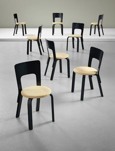 Lacquered Birch Plywood Chairs by O. Huonekalu-ja Rakennustyötehdas A.b for Artek, Plywood Chair, Alvar Aalto, Home Reno, Cool Chairs, Furniture Design, Dining Chairs, Woodworking, Architecture, Interior