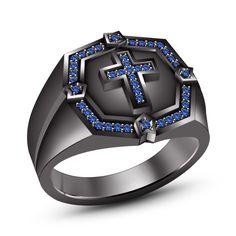 Men's Black Gold Fn 925 Silver Blue Sapphire Bible Christian Biker Cross Ring #br925 #CrossRing