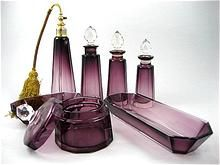 Magnificent 7 Piece Vintage Signed Moser Amethyst Dresser Set from The Vault Fine Antiques & Estate Jewelry