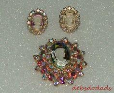 Rare Vintage Iridescent Rhinestone Juliana Cameo Brooch  / Clip On Earrings #Unknown