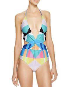 NWT $238 Mara Hoffman Diamond Twist Front One Piece Swimsuit size MEDIUM M suit  #MaraHoffman #OnePiece