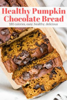 Healthy Pumpkin Chocolate Chip Bread Slender Kitchen - Delivery Food - Ideas of Delivery Food - Healthy Pumpkin Chocolate Chip Bread thats moist delicious and packed with pumpkin flavor and is made with healthy ingredients. Healthy Dessert Recipes, Healthy Baking, Healthy Desserts, Gourmet Recipes, Bread Recipes, Healthy Breakfasts, Healthy Dishes, Snack Recipes, Healthy Pumpkin Bread