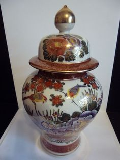 Japanese Large 1940's-1950's Multi-Color  Hand Painted Ginger Jar/Gold Trimmed
