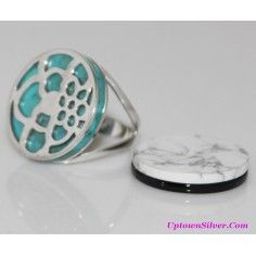 Silpada Artisan Jewelry Size 8 Turquoise Black Chalcedony White Magnesite Stone Interchangeable Ring Retired Rare