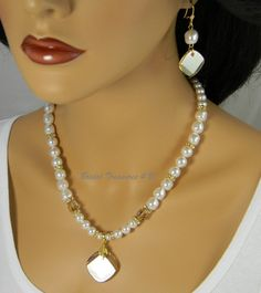 Bridal Pearl Necklace Set, Wedding Jewelry Set Champagne, Swarovski White Pearls and Crystals, Golden Shadow, BS2 by BridalTreasures4U on Etsy