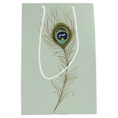 Sage Peacock Feather gift bag