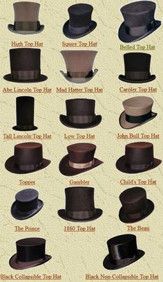 "Vintage Dressing steampunktendencies:"" Top Hat Name Chart"" - Arsenic is my dark corner with steampunk, victorian, vintage influences. Moda Steampunk, Steampunk Hat, Victorian Steampunk, Victorian Fashion, Vintage Fashion, Fashion Goth, Steampunk Clothing, Steampunk Necklace, Steampunk Fashion Men"
