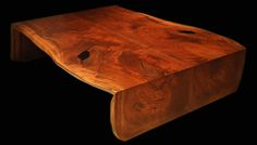 Folded-Edge and Book-Matched Live-Edge Claro-Walnut Slab Coffee Table   Clark Functional Art