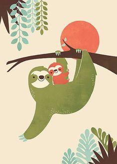 East End Prints - Mama Sloth Framed Print - White Frame - Green Baby Sloth, Cute Sloth, Baby Pets, Baby Otters, Sloth Drawing, Image Svg, Art Aquarelle, Posca Art, Cute Illustration