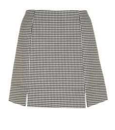 New Look - Monochrome Jagged Houndstooth Notch Mini Skirt