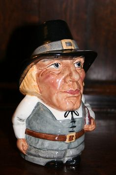 ENGLISH MADE HAND DECORATED MANOR POTTERY TOBY JUG: THE PURITAN
