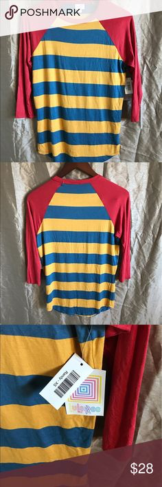 NWT LulaRoe Randy Harry Potter colored striped XS Super cute color-blocked shirt that shares the same color scheme as Harry Patter! LuLaRoe Tops Tees - Long Sleeve