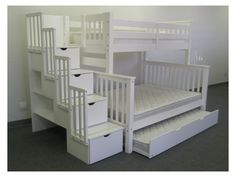 toddler up, twin down, twin trundle. love the drawer/storage stairs!