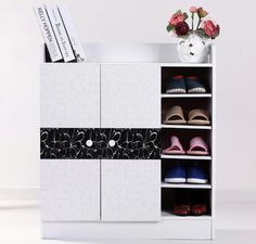 High Gloss Deluxe Contemporary  Wooden Shoe Storage Cabinet