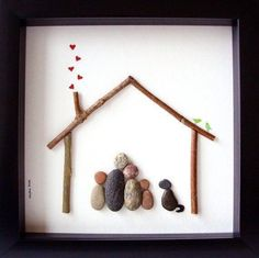 Unique Christmas Gift- Unique Family Gift - Customized Family Art Work - Family of 5 and Dog - Family of Five Art - Family Gift- Pebble Art by MedhaRode Unique Anniversary Gifts, Unique Housewarming Gifts, Unique Gifts, Stone Crafts, Rock Crafts, Arts And Crafts, Family Christmas Gifts, Gifts For Family, Caillou Roche