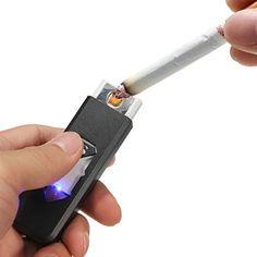 Feuerzeug usb ökologisch wiederaufladbar Sturm Feuerzeug Raucher Gadget Zigarettenanzünder ohne Flamme schwarz