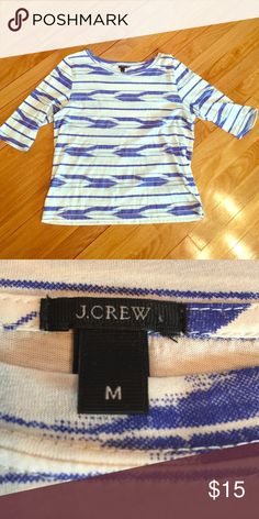Worn once! J. Crew aztec blue and white print. Light weight and comfortable. Worn once! J. Crew Tops Blouses