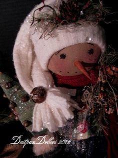 *SJNOWMAN ~ Primitive Folk Art Christmas Snowman Doll Christmas Tree Bells Star | eBay