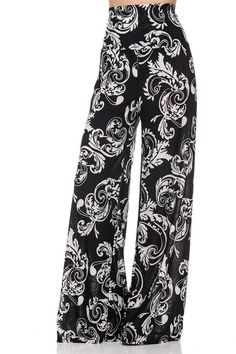 - 90%Poly, 10%Spandex. - Made in U.S.A. - These palazzo pants feature a high, thick waistband, wide leg, and stretch fabric. - Look and feel great all day in our versatile High Waisted Plus Palazzo Pa