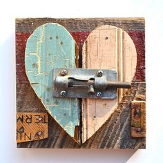 The State Of My Heart Love Art With Architectural Salvage Locked Heart Original…