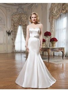 Sweetheart Satin Ribbons Trumpet Mermaid Wedding Dress