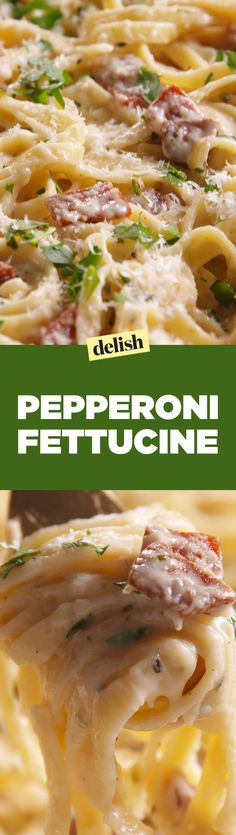 Looking for pepperoni pasta recipes? This Pepperoni Fettuccine is amazing. Fettuccine Recipes, Pasta Recipes, Dinner Recipes, Cooking Recipes, Dinner Ideas, Freezer Cooking, What's Cooking, Pork Recipes, Cooking Ideas
