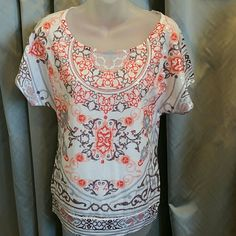 Bohemian print shirt with clear sequins Shirt features a lovely bohemian print with colors of peach, orange, brown and gray on a white background. Front is covered in clear sequins, making this top amazing! 100%cotton  Never worn.  Size small Tops Tees - Short Sleeve
