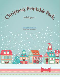 Christmas Printable Pack for kids ages 2-7. Over 70 activities focusing on shapes, colors, patterns, puzzles, mazes, fine motor, math, and literacy - Gift of Curiosity