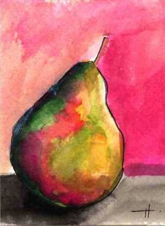 """AcEo Original Watercolor Ink Pear in the Pink 2.5"""" x 3.5""""  Studio B3Art #Abstract"""