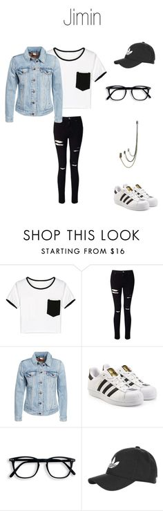 """""""Jimin"""" by kpoptrash-co ❤ liked on Polyvore featuring WithChic, Miss Selfridge, Levi's, adidas Originals, Topshop and Bug"""