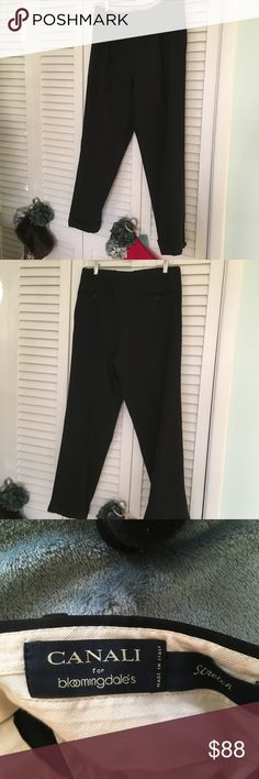 Men's Canali Designer Wool Dresspants Men's Canali for Bloomingdales men's wool trousers.  Color Black. Size 34/30. Good condition.  Wool 5 percent Lycra Canali Pants Dress