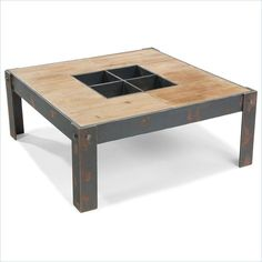 Moe'S Bolt Coffee Table Industrial Metal Base Square Wood Top In Natural…