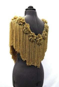 Crochet Woman Scarf Collar Mustard Gold Roses by CrochetSecret