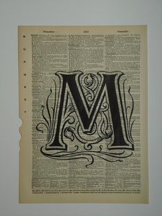 Alphabet letter M vintage dictionary print book by 2PurpleCats, $8.00
