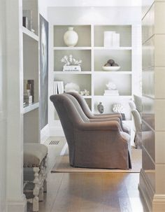 built ins + slipcovered chairs