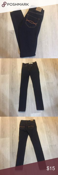 Abercrombie & Fitch Jeans Abercrombie & Fitch dark wash skinny jeans. Practically new. No sign of wear at all. Smoke free home. Waist is 13 inches (laying flat) and inseam is 30 1/4 inches. Abercrombie & Fitch Jeans Skinny