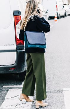 Khaki wide leg trous