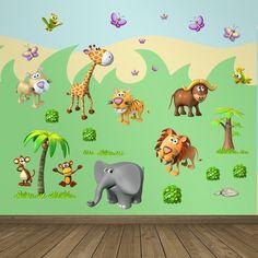 Stickers pour enfants: animaux de la selva africaine. Kit Stickers pour enfants. #stickersmuraux #decoration #motifs #mosaïque #girafe #lion #elefante #tigre #singes #WebStickersMuraux