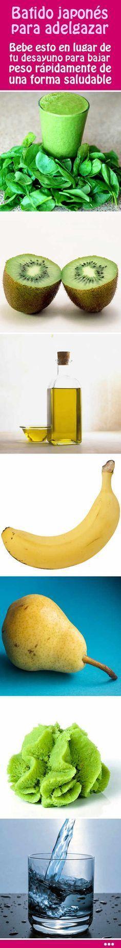 Batido japonés para adelgazar. Bebe esto en lugar de tu desayuno para bajar peso rápidamente de una forma saludable. #batido #japonés #adelgazar #perdida #peso #grasa #abdomenal