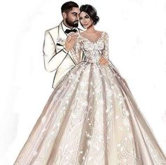 Wedding Drawing, Wedding Dress Sketches, Wedding Art, Wedding Dresses, Fashion Illustration Hair, Wedding Illustration, Disney Princess Cupcakes, Bride And Groom Silhouette, Cute Couple Art