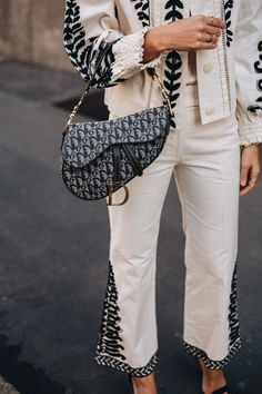 Best Designer bags / fashion week street style #desginerbag #fashionweek #luxury #streetstyle #fashion /  Pinterest: @fromluxewithlove Jeans Material, Lady Dior, Dinner Date Outfits, Dior Saddle Bag, Best Designer Bags, Couture, Fashion Labels, Cloth Bags, Tory Burch