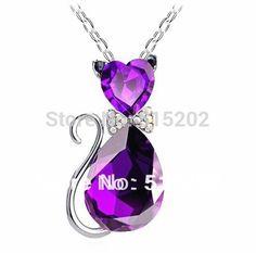 Мода cat подвеска кристалл ожерелья подвески флэш буровых ожерелья ювелирные изделия для женщин LM-N056