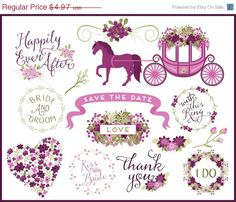 Wedding Clip Art - Wedding Horse & Carriage by KellyJSorenson https://www.etsy.com/listing/224195600