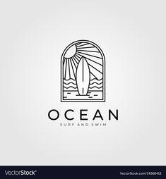 Ocean surf line art logo design beach logo design vector image Design Vector, Web Design, Surf Design, Beach Design, Moon Design, Logo D'art, Logo Branding, Branding Design, Logo Line