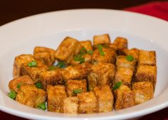 Easy way to make crispy tofu for use in a stir-fry or salad