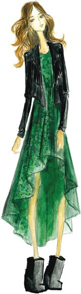 """Ella Moss inspiration  Fall 2012 is about """"LOVE MAGIC"""" — witches and warlocks, misty landscapes, love potions and dreamy skies set the mood for colors this season ,must-have item  An Ella Moss dramatic high/low hem dress is a must have this fall — I love it in our Crystal Green chiffon print, it mixes shades of Spruce and tones of Jade, and it's so easily transitional from late summer into the fall months"""