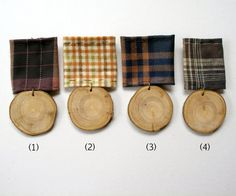 Medal buttonholes made from wood and vintage fabric - The Natural Wedding Company Textile Jewelry, Fabric Jewelry, Textile Art, Jewellery, Wood Badge, Little Presents, Textiles, Little Doll, Buttonholes