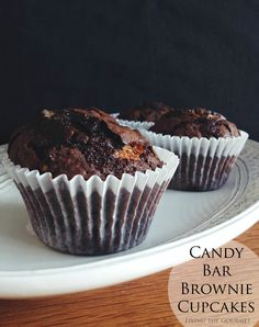 Candy Bar Brownie Cupcakes - These rich, fudgy cupcakes are the best of both worlds - brownies and candy bars.