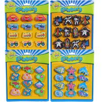 Shaped erasers for sorting, pick up, and counting. $1 12-ct